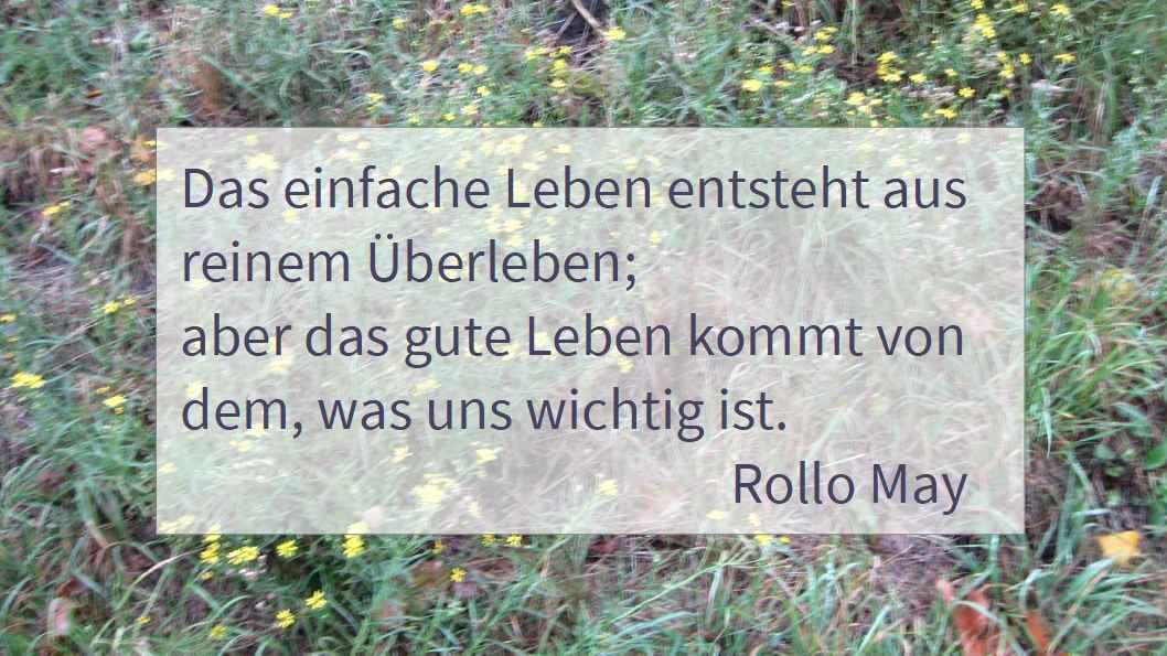 das gute Leben kommt von dem, was uns wichtig ist. Zitat Rollo May